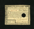 Colonial Notes:Massachusetts, Massachusetts May 5, 1780 $5 Extremely Fine. Desirable marginssurround this vibrant example with the usual hole cancel seen...