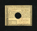 Colonial Notes:New Hampshire, New Hampshire April 29, 1780 $4 Extremely Fine COC. This attractivenote appears uncirculated at first glance but has a few ...