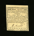Colonial Notes:Rhode Island, Rhode Island May 22, 1777 $1/24 Choice New. A stunning example fromthis early Rhode Island issue that is as nice as any thi...