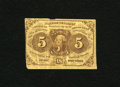 Fractional Currency:First Issue, Fr. 1230 5c First Issue Fine. Some mounting tape is seen on the back of this straight edge with monogram issue....