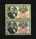 "Fractional Currency:Fifth Issue, Fr. 1308 25¢ Fifth Issue, Fr. 1309 25¢ Fifth Issue About New. The""Long Key"" variety exhibits a light center fold while the ...(Total: 2 notes)"