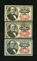 Fractional Currency:Fifth Issue, Fr. 1309 25c Fifth Issue. Three Examples. Extremely Fine. One note has a soil spot.. ... (Total: 3 notes)