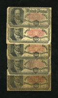 Fractional Currency:Fifth Issue, Fr. 1381 50c Fifth Issue. Five Examples. Good or Better. Thesenotes are relatively intact for the grade.. ... (Total: 5 notes)