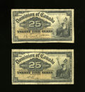 Canadian Currency: , DC-15a; DC-15b 25¢ 1900. Two of the three signature combinationsfor this design are found in this lot. Very Good.. ... (Total: 2notes)