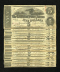 Confederate Notes:1863 Issues, $100 face T60 $5 1863. Here is your chance to carry a full walletof Confederate Fives. All notes are in VG-Fine condit... (Total: 20notes)