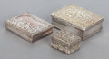 Silver Smalls:Other , THREE SILVER LIDDED BOXES . 19th/20th centuries. Marks: variousmarks. 1 x 2-3/4 x 2-1/8 inches (2.5 x 7.0 x 5.4 cm) (larges...(Total: 3 Items)