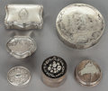 Silver Smalls:Snuff Boxes, A GROUP OF SIX SILVER LIDDED BOXES BY VARIOUS MAKERS. 19th/20thcenturies. Marks: various marks including English, French an...(Total: 6 Items)