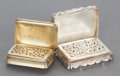 Silver Smalls:Vinaigrettes, TWO ENGLISH SILVER VINAIGRETTES. Second half 19th century. Marks:various marks including Nathaniel Mills maker's mark. 1/2 ...(Total: 2 Items)