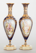 Ceramics & Porcelain, A PAIR OF SÈVRES-STYLE PORCELAIN, GILT AND CHAMPLEVÉ URNS ON ONYX BASES. Late 19th century. Signed to urn: HAREL. 10-3/8... (Total: 2 Items)