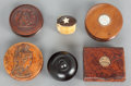 Decorative Arts, Continental, FIVE WOOD LIDDED BOXES WITH A BONE AND WOOD SNUFF BOX. 19thcentury. 1-1/8 x 3-1/4 x 2-5/8 inches (2.9 x 8.3 x 6.7 cm) (rect...(Total: 6 Items)