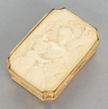 Decorative Arts, Continental, A CONTINENTAL CARVED BONE AND GILT METAL MOUNTED LIDDED PORTRAITBOX. 19th century. 1 x 3-1/4 x 2-3/8 inches (2.5 x 8.3 x 6....