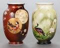 Art Glass, A PAIR OF HANDPAINTED OPALINE GLASS VASES. Circa 1900. 8 inches high (20.3 cm). ... (Total: 2 Items)