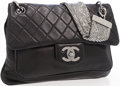 Luxury Accessories:Accessories, Chanel Black Lambskin Leather Shoulder Bag with Silver Mesh ChainStrap . ...