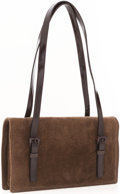 Luxury Accessories:Accessories, Prada Brown Suede Shoulder Bag with Leather Handles . ...