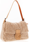 Luxury Accessories:Accessories, Fendi Tan Knit Mama Baguette Shoulder Bag. ...
