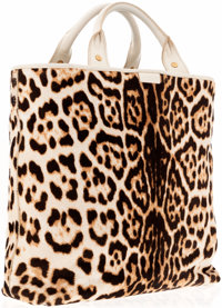 Yves Saint Laurent Leopard Ponyhair Tote with Ivory Leather Trim
