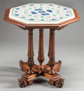 Furniture : Continental, AN ITALIAN RENAISSANCE REVIVAL OCTAGONAL TABLE WITH PIETRA DURAINLAID MARBLE TOP . Circa 1900. 27-1/2 x 28 x 28 inches (69....(Total: 2 Items)