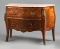 Furniture : French, A LOUIS XV-STYLE MAHOGANY AND FRUITWOOD FLORAL INLAY BOMBE COMMODEWITH MARBLE TOP . Circa 1900. 35-1/4 x 49 x 21 inches (89...(Total: 2 Items)