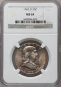 Franklin Half Dollars: , 1962-D 50C MS64 NGC. NGC Census: (1711/993). PCGS Population(2893/486). Mintage: 35,473,280. Numismedia Wsl. Price for pro...