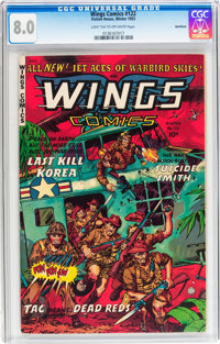 Wings Comics #122 Northford pedigree (Fiction House, 1953) CGC VF 8.0 Light tan to off-white pages