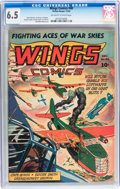 Golden Age (1938-1955):War, Wings Comics #40 (Fiction House, 1943) CGC FN+ 6.5 Off-white towhite pages....
