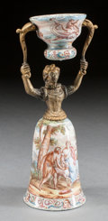 Paintings, A VIENNESE ENAMELED WEDDING CUP. Early 20th century. 7-1/2 x 3 x 3 inches (19.1 x 7.6 x 7.6 cm). ...