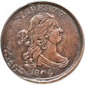Half Cents, 1804 1/2 C Crosslet 4, Stems -- Double Struck, First Strike 10% OffCenter -- VF30 PCGS. C-10, B-9, R.1....