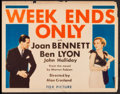 "Movie Posters:Romance, Week Ends Only (Fox, 1932). Title Lobby Card (11"" X 14""). Romance.. ..."
