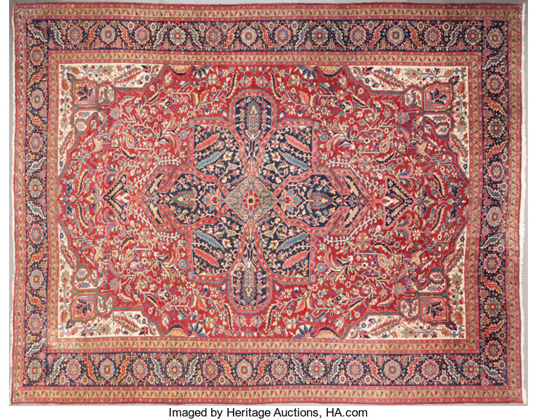 Rugs Textiles Carpets A Persian Heriz Wool Knotted Carpet 20th Century