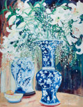 Fine Art - Painting, American:Contemporary   (1950 to present)  , VARIOUS ARTISTS (20th Century). Palm at Riverbend; Pair of BlueVases with White Lilies; Christmas Ornaments (group of thr...(Total: 3 Items)