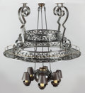 Decorative Arts, Continental:Lamps & Lighting, A PATINATED IRON HANGING POT RACK. Late 20th century. 50 incheshigh x 47-1/4 inches wide (127 x 120.0 cm). ... (Total: 2 Items)