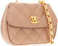 Luxury Accessories:Accessories, Chanel Champagne Satin Evening Bag with Gold Hardware . ...