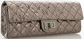 Luxury Accessories:Accessories, Chanel Metallic Gray Quilted Leather Clutch with Shoulder Strap ....