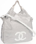 Luxury Accessories:Accessories, Chanel Silver Metallic Perforated Leather Rodeo Drive Tote Bag . ...