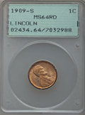 Lincoln Cents: , 1909-S 1C MS64 Red PCGS. PCGS Population (471/565). NGC Census:(168/237). Mintage: 1,825,000. Numismedia Wsl. Price for pr...