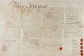 """Autographs:Non-American, John, Richard, and William Penn Deed of Confirmation Signed withSecretarial Signatures. One vellum page, 24"""" x 16"""", Philade..."""