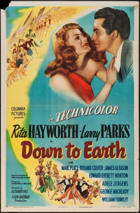 "Down to Earth (Columbia, 1947). One Sheet (27"" X 41"") Style B. Musical"