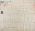 "Autographs:Non-American, Land Deed in the Reign of King George III. Two vellum pages, 28.5""x 25.25"", London, March 23, 1771, for a lease of land bet..."