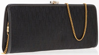Christian Dior Black Monogram Canvas Pouch Bag with Gold Chain Strap