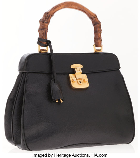 Luxury Accessories Bags Gucci Black Leather Tote Bag With Bamboo Handles