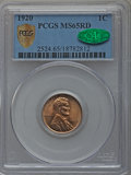 Lincoln Cents: , 1920 1C MS65 Red PCGS Secure. CAC. PCGS Population (413/127). NGCCensus: (89/60). Mintage: 310,164,992. Numismedia Wsl. Pr...