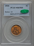 Lincoln Cents: , 1934 1C MS67 Red PCGS. CAC. PCGS Population (277/8). NGC Census:(392/3). Mintage: 219,080,000. Numismedia Wsl. Price for p...