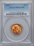 Lincoln Cents: , 1949 1C MS66+ Red PCGS. PCGS Population (382/14). NGC Census:(519/36). Mintage: 217,775,008. Numismedia Wsl. Price for pro...