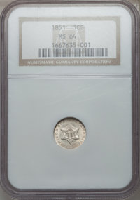 1851 3CS MS64 NGC. NGC Census: (416/259). PCGS Population (375/306). Mintage: 5,447,400. Numismedia Wsl. Price for probl...