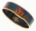 Luxury Accessories:Accessories, Hermes 65mm Blue, Yellow & Red Enamel Bangle Bracelet with GoldHardware. ...