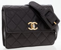 Luxury Accessories:Accessories, Chanel Black Quilted Lambskin Leather Waist Pouch . ...