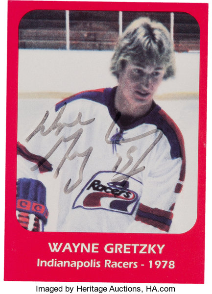 official photos a01b0 cbb77 Wayne Gretzky Signed Indianapolis Racers Card.... Hockey ...