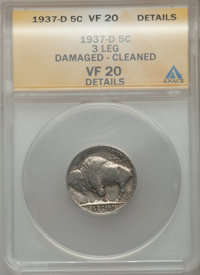 1937-D 5C Three-Legged -- Cleaned, Damaged -- ANACS. VF20 Details. PCGS Population (263/6078). NGC Census: (151/5500). M...
