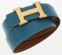 Hermes 70cm Blue Jean Calf Box Leather & Gold Courchevel Leather Reversible H Belt with Gold Hardware