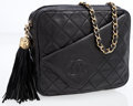 Luxury Accessories:Accessories, Chanel Black Quilted Lambskin Leather Shoulder Bag with Tassel ....